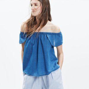 Madewell Indigo Cotton Off-the-Shoulder Top Blue